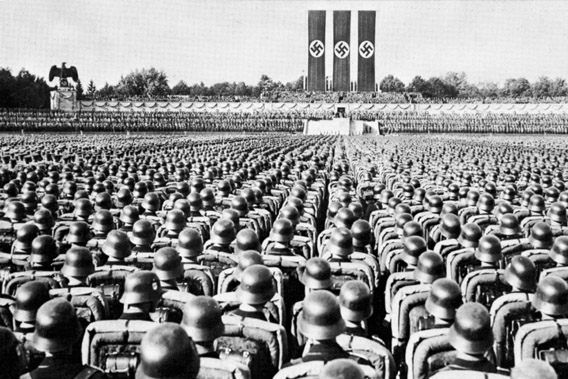 Parade of the SS Guard, the Nazi elite, at a Party rally in Nurmberg in the late 1930s.